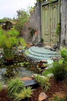 water garden with beautiful doors