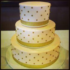 Pink and Gold Swiss Dot #weddingcake by #BeavertonBakery