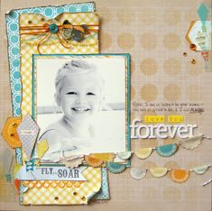 Trendy Gray and Yellow with blue.  Love You Forever - Scrapbook.com