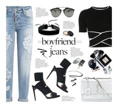 """Boyfriend Jeans Trend"" by nataliagaonad ❤ liked on Polyvore featuring Yves Saint Laurent, Dsquared2, T By Alexander Wang, Paul Andrew, Simons, Christian Dior, Maybelline, Eyeko and NARS Cosmetics"
