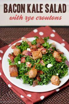 Bacon Kale Salad with Rye Croutons | PDXfoodlove.com