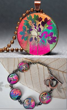 Summer Fall Resin Pendant and Bracelet Set Picture Pendant Photo Pendant SALE