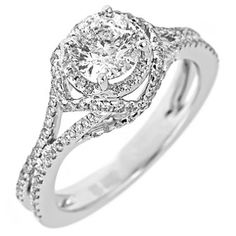 1.50 ct. t.w. Round Cut and Pave Diamond Bridal Ring in 14k White Gold (H-I, I1)