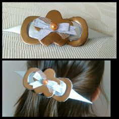 Gold and silver leather hair bow