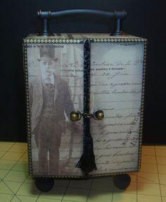 Altered Cigar Box ATC Holder by CrazyCatLadyCards on Etsy