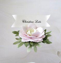 Pink Cream Green Handmade Paper Flower Place Cards by carrieklein, $30.00