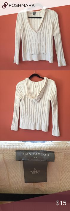 Ann Taylor Hooded V-Neck Sweater Light cream (almost white) hooded open v neck sweater. Perfectly for layering, soft yet sturdy. In great condition, no signs of wear. There's an identical grey one also listed in my closet: Feel free to bundle for an extra discount! Both are actual Size L but fit more like M, or slightly loose S. Comments and Questions welcome!! Ann Taylor Sweaters