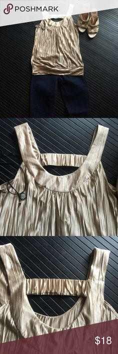 Gold top Gold top perfect for travel. It can easily be worn with jeans,a skirt, pants or under a suit. Tops Blouses