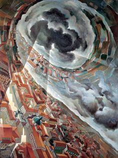 "Tullio Crali: ""Horizontal Spin"", oil on plywood, 80 x 60 cm (Modern Art Gallery Rome as its capital) Harlem Renaissance, Italian Futurism, Modern Art, Contemporary Art, Futurism Art, Abstract Art Images, Italian Artist, 2d Art, Montenegro"