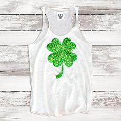 St Patricks Day T Shirt Tank Sequin Shamrock by ShopLoveAndBambii