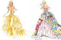 50th Anniversary Barbies: Glamour on the left, and Generation of Dreams on the right--illustrations by Robert Best