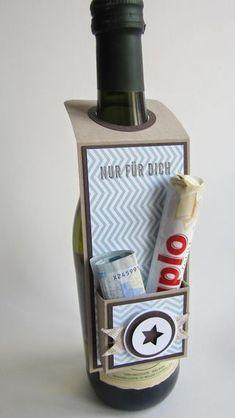 Flaschenanhänger mit Geld-/Schokifach! | paperqueen | Bloglovin'