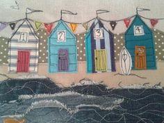 beach huts www.facebook.com/zoewrighttextiles