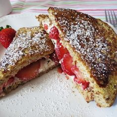 A cheesy strawberry french toast that is perfect for a quick summer breakfast