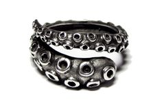 Sterling Silver Octopus Tentacle Wrap Ring by SilverPhantomJewelry, $37.50