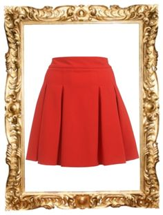 Red Pleat Detail Skater Skirt - $57
