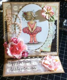 Birthday easel card featuring Mo Manning's digi stamp and colored with Copics