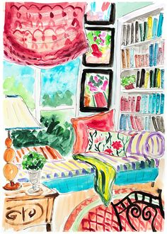 Colourful home art. Girls room decor.Books painting.Window seat.Happy art.Chic wall art.Bright art.Gifts for her.For book lovers.Acrylic art