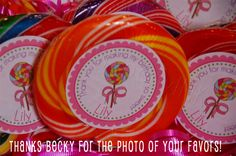 "2"" round lollipop stickers on giant swirly pops!  Personalized stickers by partyINK."