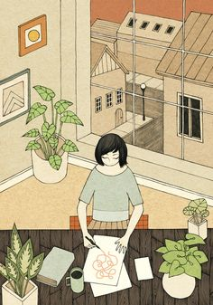 Red Sky, Silly Lines, Rose Wong #illustration #home #plants