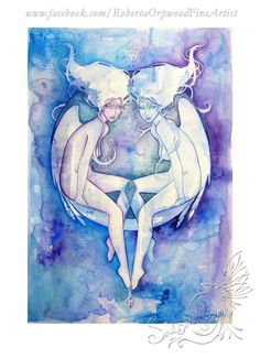Gemini Zodiac Goddess / Twins / Star Sign / Air by SoulBirdArt