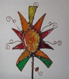 Stained Glass copper garden art plant stake indoor by Groovyglass