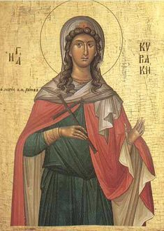 Orthodox Icon of Great Virgin Martyr Kyriake Byzantine Icons, Byzantine Art, Religion Catolica, Orthodox Christianity, Catholic Saints, Art Icon, Orthodox Icons, Sacred Art, Cristiano
