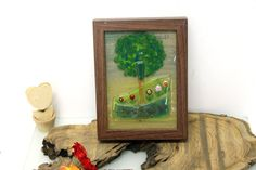 Earthy  green Landscape painting  Wall hanging  by virtulyglass