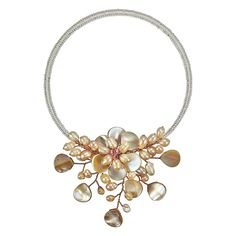 Pretty Pink Mother of Pearl and Cultured Freshwater Pearl Flower Ray Choker Wrap Necklace >>> Click image for more details.