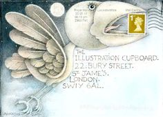 ♥♥ ✉ Wayne Anderson Envelope by Wayne Anderson for The Illustration Cupboard. ✉ Snail mail art at its best.