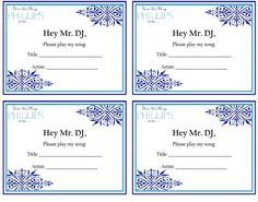 Song Request :  wedding song request dj guests reception paper sign blue navy inspiration diy DJ Request Form