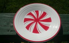 """Fiesta Peppermint Swirl Luncheon Plate 9"""" Holiday/Christmas Fiestaware Scarlet in Pottery & Glass, Pottery & China, China & Dinnerware, Fiesta: Contemporary   eBay"""