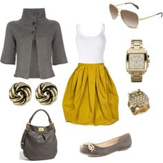 Skirt, Jacket…too cute!  Love the yellow and gray!