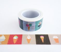 Single roll of wide washi masking tape with ice cream pattern - ice cream cones, ice cream sundaes, ice pops and more. Great for travel journals, scrapbooking, gift wrapping, decorating cards and enve