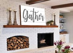 Gather Sign Gift for Her Wall Art Rustic Home Decor Shiplap, home decor, diy decor, living room,  fireplace, wood storage, sign, candles,  flowers, white brick, built in shelf, mantle, candles holders, based, rustic, farmhouse , gather sign #afflink