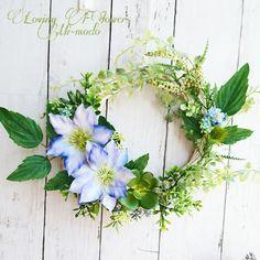 初夏のてっせんグリーンリース(ブルー)|フラワー・リース|LovingFIowersMi-modo|ハンドメイド通販・販売のCreema