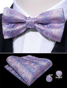 New formal Men/'s micro fiber pretied bow tie /& hankie set paisley lavender prom