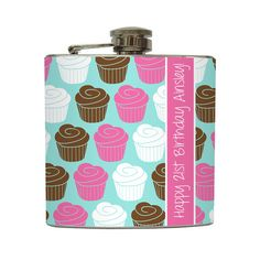Personalized Sprinkles Cupcake 21st Happy Birthday Liquor Hip Flask Birthday Gift Pink Stainless Steel 6 oz Liquor Hip Flask LC-1200. $22.00, via Etsy. For my bestfriend! @Sam Taylor Gutheridge