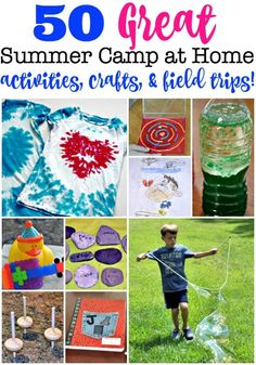 Summer camp at home is a great way to spend summers with your kids! Here are 50 fun summer activities, summer crafts, backyard games, indoor games, and summer field trips for you to plan your own summer fun! #SummerCampAtHome #DIYSummerCamp #SummerActivities #SummerCrafts #SummerFun #BackyardGames #IndoorGames