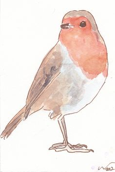OSWOA Robin Red Breast Original Watercolour & Ink Painting 4x6 OOAK Christmas £10.00