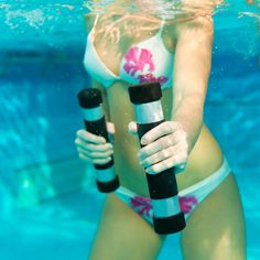 6 Exercises To Do In The Pool - Pools are for more than just lounging! You can get an excellent total body workout from merely swimming laps. But, like running, those can get a little boring. Mix it up by adding some strength training to your aquatic workout. A few of these moves require equipment: pool noodles, beach balls and resistance bands. Check out these exercises to switch up your routine this summer!