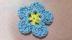 かぎ針編み 簡単 * 花モチーフの編み方 * (わすれな草編) Flower Motif (forget-me-not)