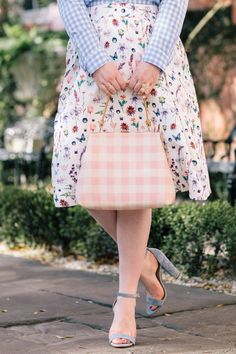 Pattern Mixing Floral and Gingham | Pink Gingham Handbag