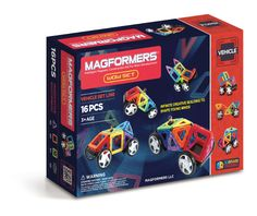 Magformers Wow Set (16 PCS) - Our original WOW Set, perfect for beginner builders to create a wide variety of vehicles with the help of 39 activity cards! Lay your MAGFORMERS® on the cards and then pull them from 2D into 3D! Great for young minds to learn about constructing cube nets, patterns, shapes and colours!