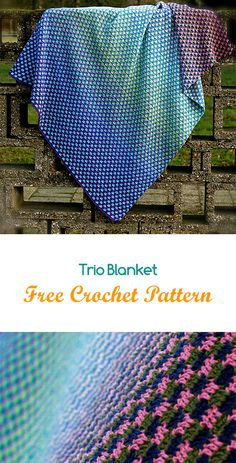 Trio Blanket Free Crochet Pattern #crochet #crafts #yarn #style #homedecor