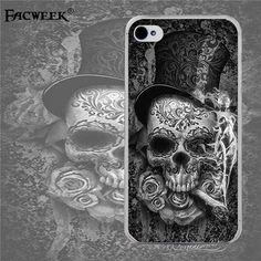 Original Brand Facweek Flower Skull Head Pattern Cell Phone Cases Fundas Coque For Apple Iphone 4 4s Back Cover Silicone Shell