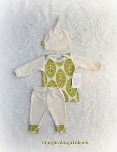Spring Leaves Baby Boy or Girl Coming Home Outfit with Matching Knot Hat Gift Set Gender Neutral