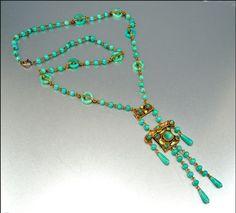 Egyptian Czech Art Deco Enamel Glass Ring Necklace Gold Gilt