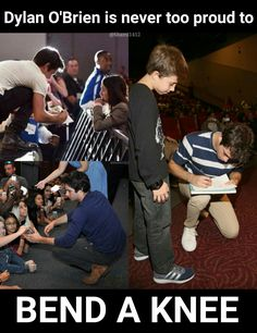 One thing I love most about Dylan O'Brien, is the fact the he is never to proud to Bend A Knee for his fans. Teen Wolf Memes, Teen Wolf Funny, Teen Wolf Boys, Teen Wolf Dylan, Teen Wolf Stiles, Teen Wolf Cast, Teen Wolf Stydia, Maze Runner Funny, Maze Runner Movie
