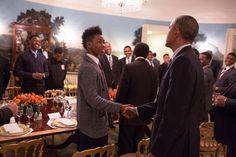 On the first anniversary of the My Brother's Keeper initiative, President Barack Obama greets Gerard Contee during a mentee lunch in the Diplomatic Reception Room of the White House, Feb. 27, 2015. (Official White House Photo by Pete Souza)